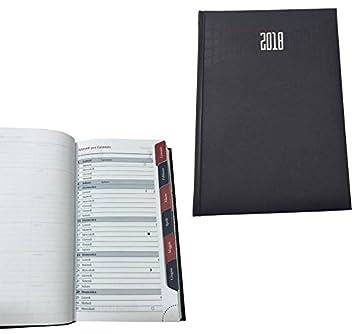 Takestop® - Agenda 2018 con divisores de mes, planificador diario y espacio para notas, de bolsillo: 19 x 11 cm, color negro, cubierta rígida