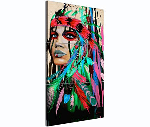 Home Decor Modern Wall Art Painting on Canvas 3 Panel Posters Prints Living Room Office Abstract Beauty Native American Girl Feathered Women Pictures Artworks Framed Stretched(16''Wx36''H) ()