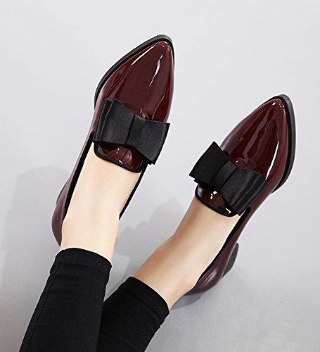 Aisun Womens Trendy Poli Habillé Porter Au Travail Bout Pointu Slip On Chunky Bas Talon Pompes Chaussures Avec Noeuds Vin Rouge