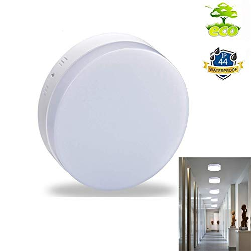 (W-LITE 12W LED Closet Ceiling Light Fixture-IP44 Waterproof Round Flush Surface Mount Lighting for Porch, Corridor, Hallway, Stairwell, Wet Location 5000K Cool White)