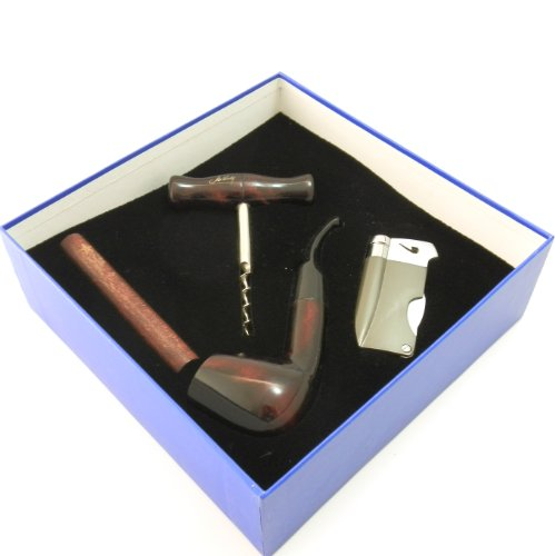 Tobacco Pipe Gift Set - Mr. Brog Silver Collection - Pipe, Tamper, Lighter w Tool, Wine Opener - Hand Made
