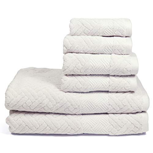 Arkwright 6-Piece Cotton Towel Set |2 Bath Towels, 2 Hand Towels, 2 Washcloths with Serenita Luxury Design Geometric Jacquard Basket Weave (Light Gray)
