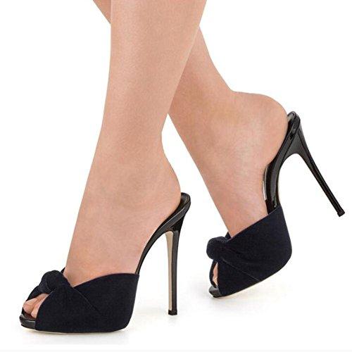 L@YC Frauen High Heels Samtknoten Sandalen Drag / Red / Schwarz Black