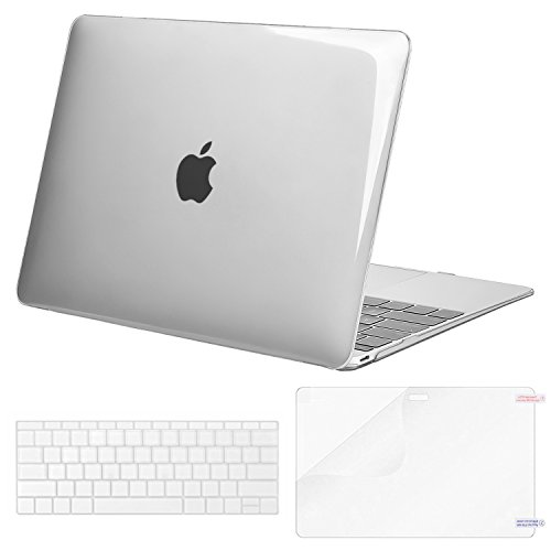 MOSISO Plastic Hard Shell Case & Keyboard Cover & Screen Protector Compatible MacBook 12 Inch Retina Display A1534 (Newest Version 2017/2016/2015), Crystal Clear
