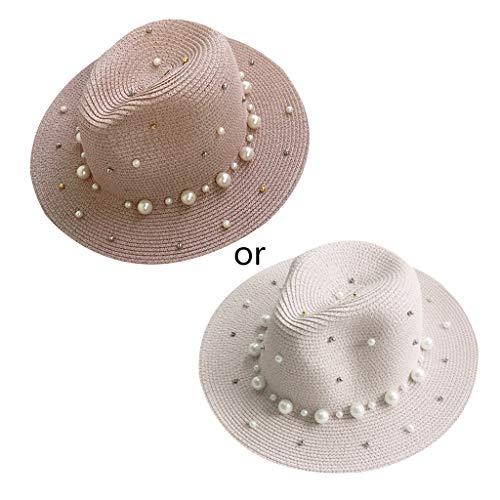 (chuwa Womens Straw Sun Hat Glitter Beaded Faux Pearl Embellishment Bucket Cap UV Protection Wide Brim Visor Beach 7 Colors Pink)
