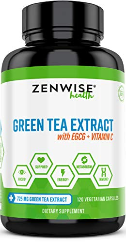 Green Tea Extract Supplement with EGCG & Vitamin C - Antioxidants & Polyphenols for Immune System - for Weight Support & Energy - Natural Pills for Brain & Heart Health - 120 Count (Best Organic Green Tea For Weight Loss)