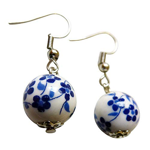 (Very Small Porcelain Earrings 0.5 Inch Rounded Ball Painted With Delicate Flowers Ceramics Accessories Mothers Day Gift Under 20 Dollars)
