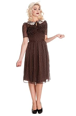 Vintage Polka Dot Dresses – 50s Spotty and Ditsy Prints Hell Bunny Womens 40s 50s Vintage Cynthia Polka Dot Brown Chiffon Dress $69.00 AT vintagedancer.com