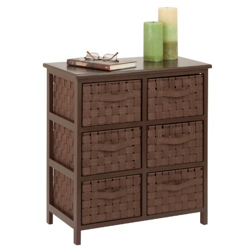 12 Drawer Chest - Honey-Can-Do TBL-03758 6-Drawer Storage Chest with Woven-Strap Fabric, Brown, 24-Inch