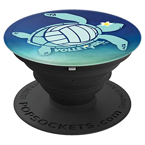 VolleyGirl Honu Volleyball Turtle - PopSockets Grip and Stand for Phones and Tablets (Volleyball Turtle)