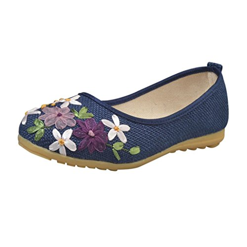 Women's Round Toe Flat Loafers Sweet Casual Shoes with Bow Blue - 9