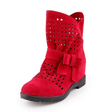 Shoes RTRY Bowknot Dress Toe Boots Round Heel UK4 Red Low Booties For Leatherette Slouch Summer Boots Winter Ankle Comfort CN36 Women's Casual Boots EU36 US6 aawrFq5