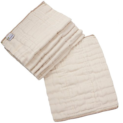 OsoCozy 6 Piece Organic Cotton Prefolds Natural/Infant 4 x 8 x 4 (7-15 lbs)