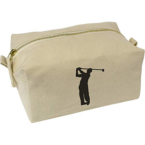 Azeeda 'Golfer Silhouette' Canvas Wash Bag / Makeup Case (CS00010776)