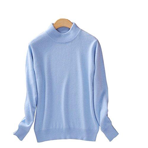 (Always Pretty Women's Slim Mock Neck Wool Knit Jumper Sweater Tops Pullover Blue M)