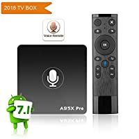 A95X Pro Google Android 7.1 TV Box, Voice Control Remote 2GB RAM 16GB ROM with 4K UHD/2.4G WiFi