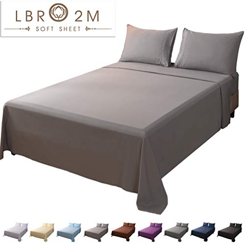 LBRO2M Bed Sheet Set California King Size 16 Inches Deep Pocket 1800 Thread Count 100% Microfiber Sheet,Bedding Super Soft Hypoallergenic Breathable,Resistant Fade Wrinkle Cool Warm, 4 Piece (Grey) (California King Bed Sheet Sets Deep Pocket)