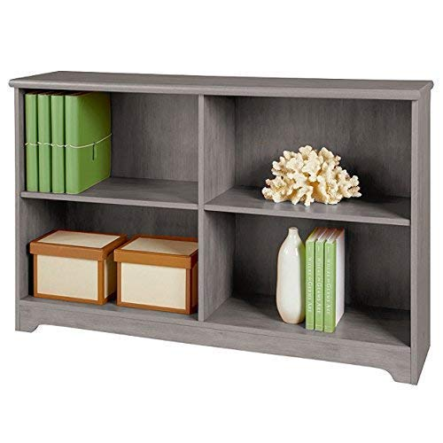 (REALONE Classic K-D Contemporary 2-Shelf Bookcase Organizer Storage Cabinet, Gray)