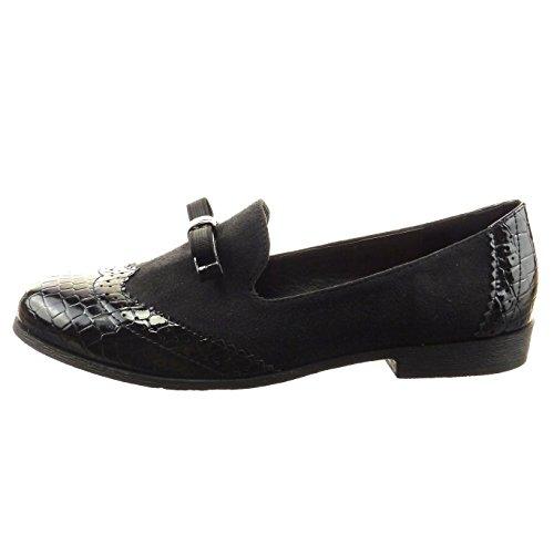 Sopily - Chaussure Mode Mocassin Ballerine Cheville femmes nœud Peau de serpent Perforée Talon bloc 2 CM - Noir