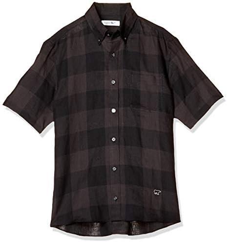 カジュアルシャツ 半袖ブロックチェックシャツ メンズ ブラック 日本 M (日本サイズM相当)
