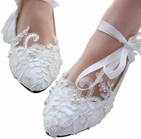 8c859e7f1308 iBinGo Women s Wedding Shoes Mary Jane Flats Ivory White String Knot Dress