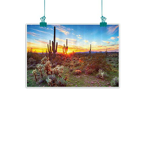 (Saguaro Cactus Decor Collection Chinese classical oil painting Saguaros Wildflowers in Sonoran Desert Scene Picture Print for Living Room Bedroom Hallway Office 24