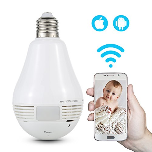 NexGadget 960P & 360° Panoramic Wireless security Bulb baby Camera with Motion Detection, Two Way Audio, Night Vision (white) (Camera Lamp)