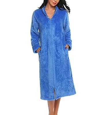 Lufore Women Soft Warm Fleece Robe Zip-front Terry Bathrobe Sleepwear S-L