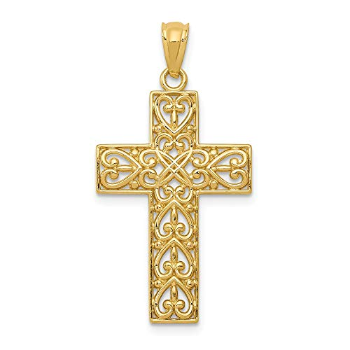 14k Yellow Gold Filigree Cross Religious Pendant Charm Necklace Latin Fancy Fine Jewelry Gifts For Women For Her ()