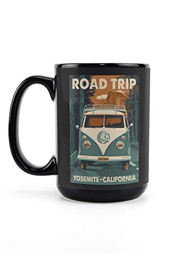 Yosemite, California - Road Trip - Camper Van Letterpress (15oz Black Ceramic Mug - Dishwasher and Microwave Safe)