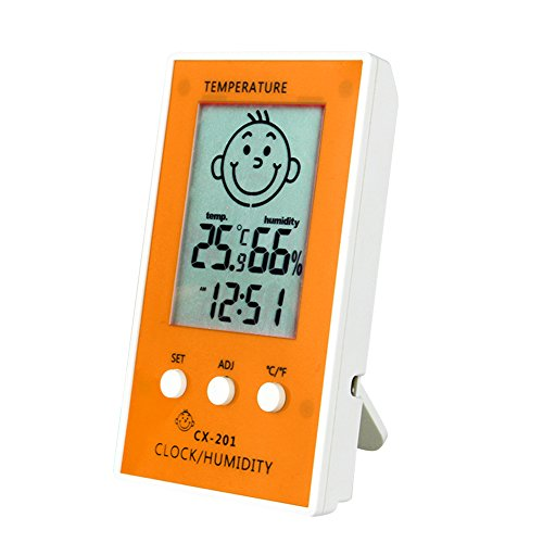 Baby's Room Electronic Digital Standing/Hanging Type Household Thermometer Hygrometer Humidiometer Temperature Indicator Orange - Acu Rite Outdoor Lcd Window