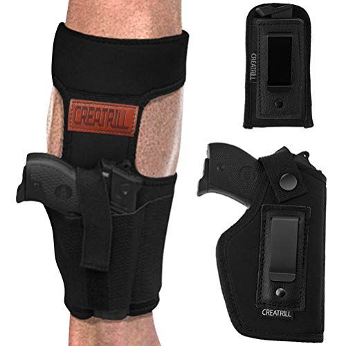 CREATRILL Bundle of Ankle Holster & Inside The Waistband Gun & Magazine Holster for Concealed Carry, Fits S&W M&P Shield Taurus PT111 G2 Sig Sauer Glock 19 26 27 29 30 33 Springfield XD Ruger LC9 (1)