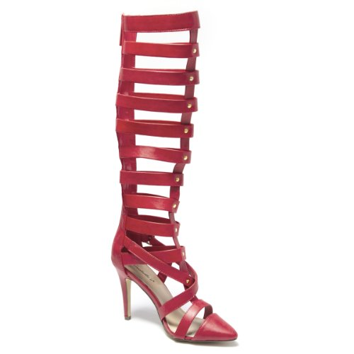 Breckelles Womens NATALY22 Closed Pointy Toe Gladiator Criss Cross Strappy Zipper Studded Knee High Heel Stiletto Punp Sandal Shoes, Red PU Leather, 8 B (M) US