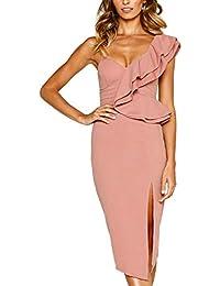 73442aa8481e Womens Dresses Summer Off The Shoulder Ruffle Floral Print Bodycon Midi  Dress
