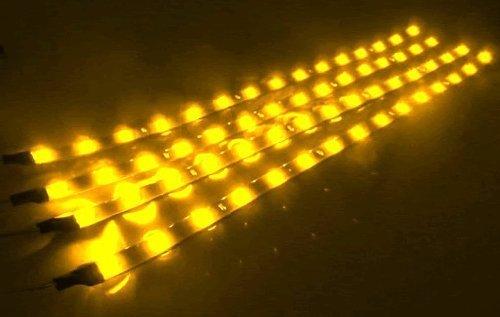 Cutequeen 30cm LED Car Flexible Waterproof Light Strip Yellow (pack of 4)