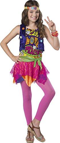 InCharacter Groovy Girl Costume, Multicolor, (Hippie Halloween Costumes For Tweens)