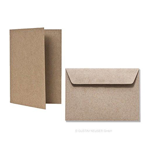 50-tlg. Kartenset DIN A6 // 25x Faltkarten, Recycling - Naturfarbe braun // 25x Umschläge DIN C6 in Grau-Braun