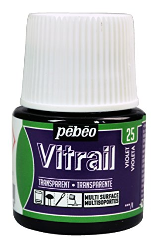 Violet Stained Glass (Pebeo Vitrail, Stained Glass Effect Paint, 45 ml Bottle - Violet)
