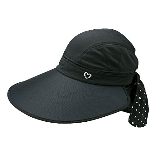 キノコ幻想的どっちでもディズニー レディース 帽子 サンバイザー 2WAY (DN-9C23547SVMK) ブラック フリー