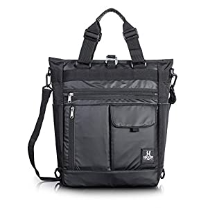 Shoulder Bag for Men, Convertible Crossbody Sling 13.3in laptop Backpack for Women Black Polyester