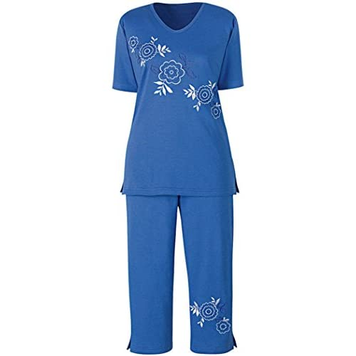 AmeriMark Diagonal Floral Embroidered Knit Capri Top and Pant Set for Women