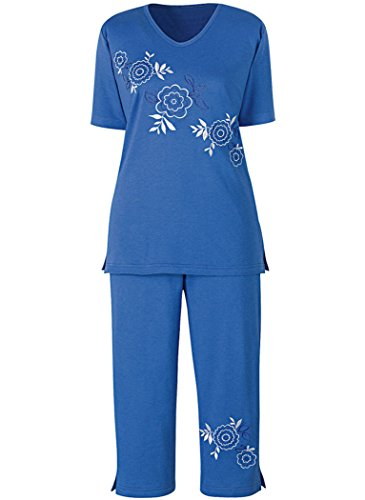 - Diagonal Embroidered Capri Set Petite Marine Blue