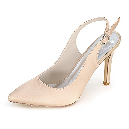YC Women 0608 Shoes High Comfortable F Wedding Dress Satin L amp; Large 20 Wedding Heels Evening Champagne Yards dq1wREd