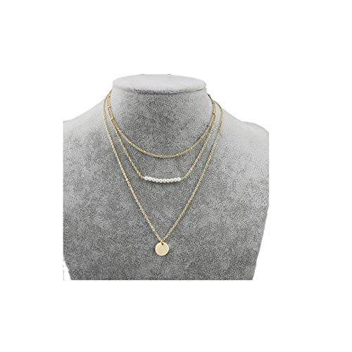 - MOCANALA Pearl Layered Choker Necklace, Pearl Bar Disc Coin Pendant Layer Necklace Gold Boho Station Chain Charm Necklace for Women (Pearl Bar)