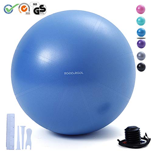 RGGD&RGGL Exercise Ball (18-34in),Professional Yoga Stability Ball Chair Extra Thick Anti-Burst Support 2200 lbs,with Quick Pump &Workout Guide for Home&Gym&Office (Ocean Blue, 26)