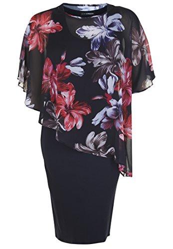 Überwurf Ärmel Damen Doris Weite Marine mit Streich Jerseykleid Blumen XFwSR