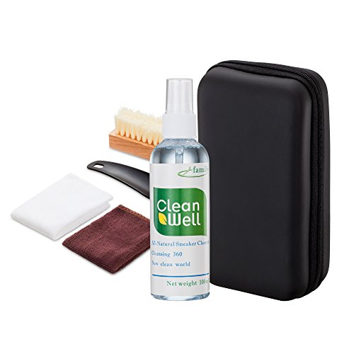 Shoe Cleaner Kit with PU Leather Sleek Elegant Case, 5-Piece Travel Shoe Brush kit and Solution (Cole Wood Mirror)