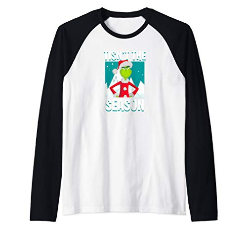 Dr.Seuss The Grinch Tisn't The Season Raglan Baseball Tee (Voice Of Tony The Tiger And The Grinch)