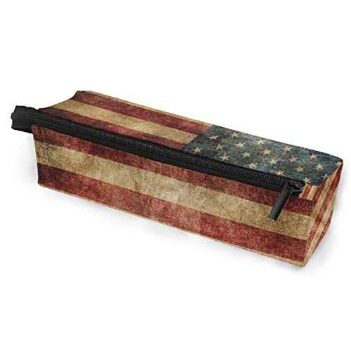 Vintage American Flag Portable Eyeglasses Case Soft Box for Women and Zipper Sunglasses Holder, Patriotic USA Star and Stripe Pencil Cosmetic Bags Storage