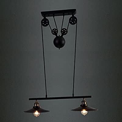 BAYCHEER HL370899 Industrial Retro Vintage style 2 Light Adjustable Linear Chandelier Pendant Light Lampe use E26/27 Bulb